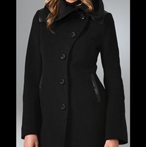 Mackage Elise pea coat black wool leather trim XS